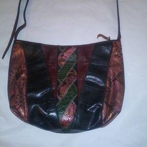 Vintage Sharif Snakeskin Leather Cross/ShoulderBag
